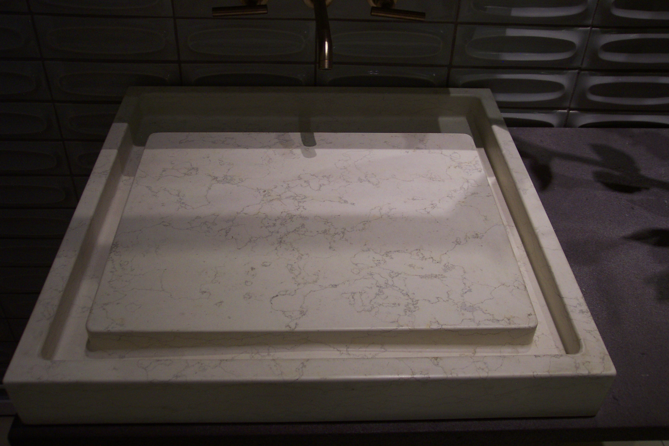 White Carrera Marble sink